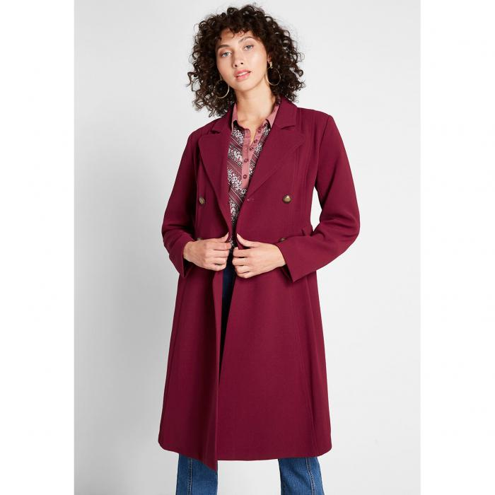 MODCLOTH クレープ 【 Along For The Ride Crepe Coat 】 Burgundy