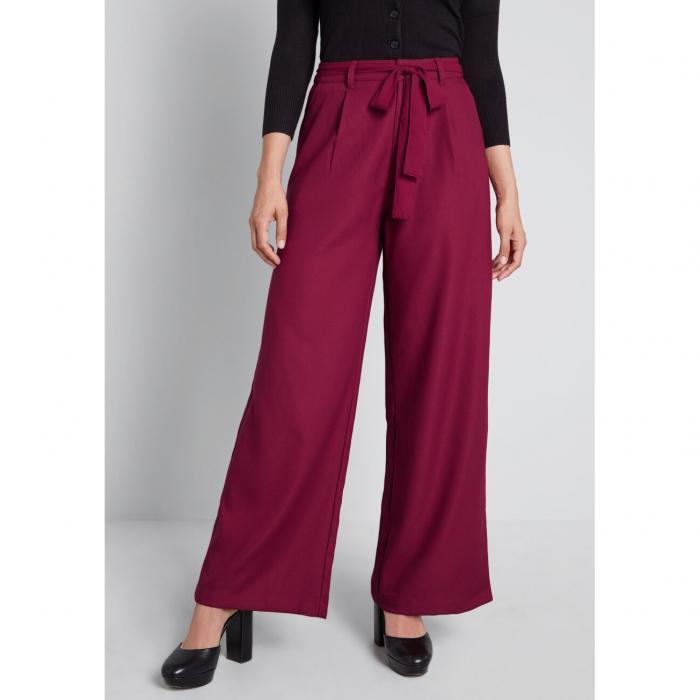 MODCLOTH 【 THE SAVANNAH WIDELEG PANTS BURGUNDY 】 レディースファッション ボトムス パンツ 送料無料