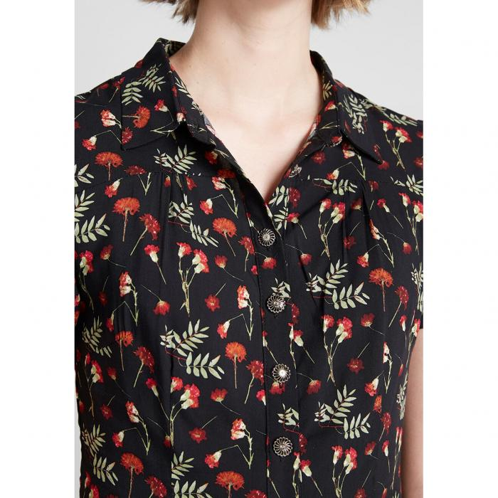 COLLECTIF スリーブ 黒 ブラック 【 SLEEVE BLACK COLLECTIF MODCLOTH X FLORAL APPEAL SHORT BLOUSE 】 レディースファッション トップス