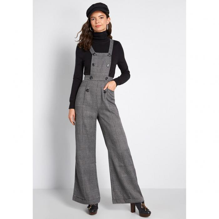 COLLECTIF レディースファッション オールインワン サロペット 【 Nostalgic And Noteworthy Plaid Overalls 】 Charcoal