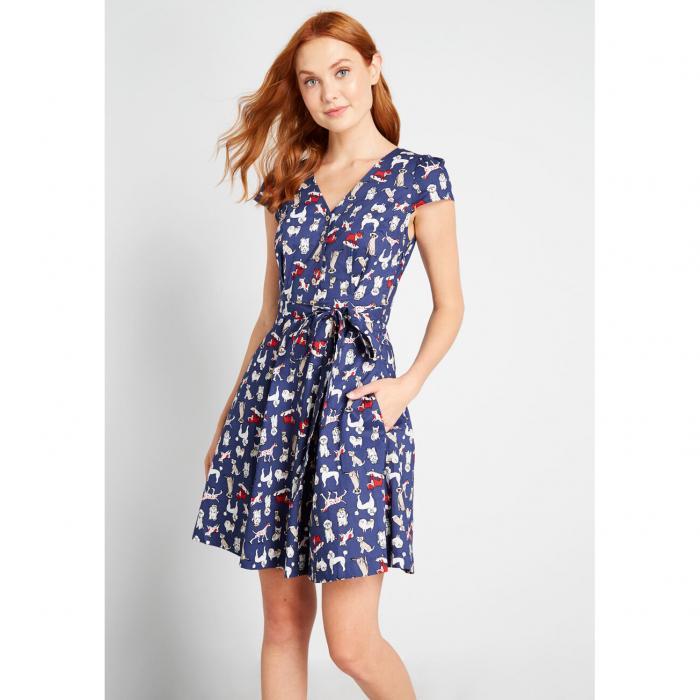 LOUCHE ドレス レディースファッション 【 Sophisticated Spontaneity A-line Dress 】 Dog Print