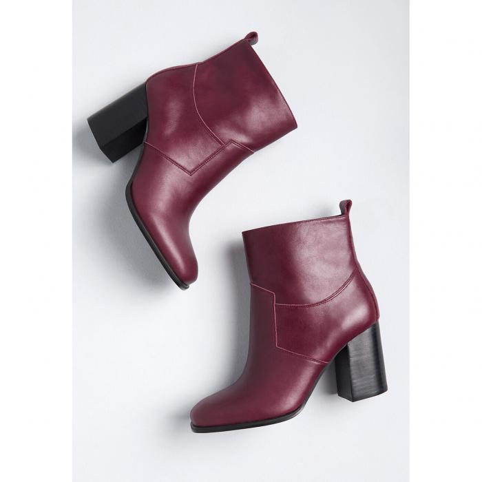 SBICCA レザー ブーツ ワイン色 バーガンディー 【 SBICCA SPUR OF THE MOMENT LEATHER ANKLE BOOT BURGUNDY 】