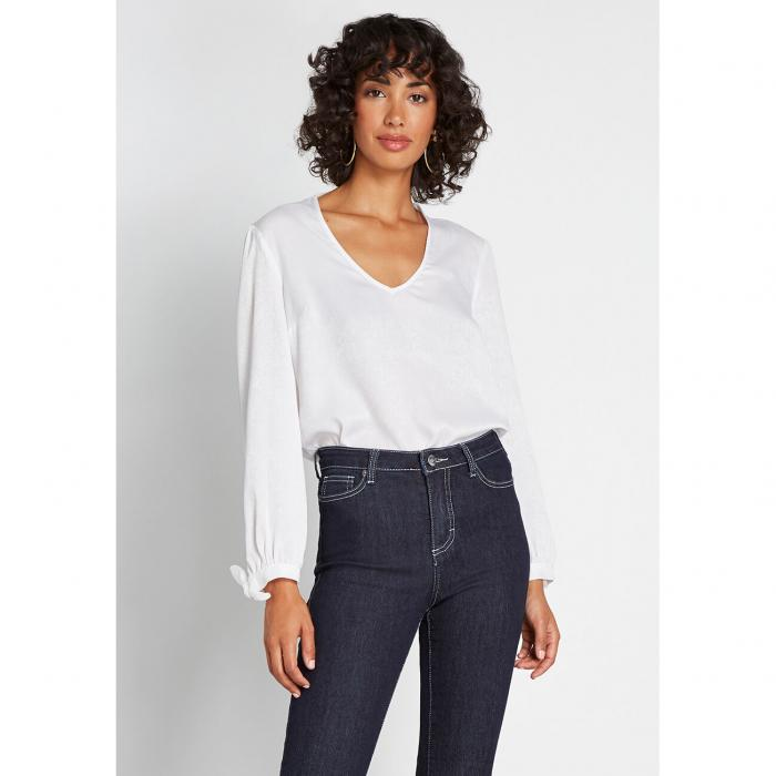 MODCLOTH スリーブ 【 SLEEVE IDEAL DISCOVERY LONG BLOUSE IVORY 】 レディースファッション トップス 送料無料