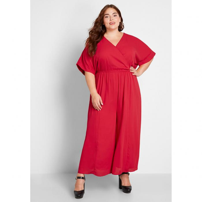 MODCLOTH レディースファッション オールインワン サロペット 【 Arrive And Thrive Wide-leg Jumpsuit 】 Red