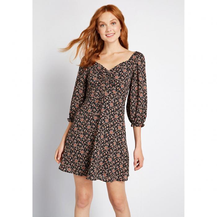 NO_BRAND_SHOWN ドレス レディースファッション 【 Floral Pictorial Mini Dress 】 Black Floral