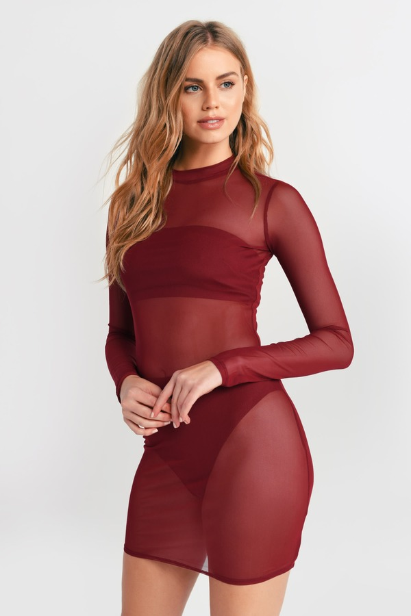 TOBI 【 TOBI CIARA MESH BODYCON SET WINE 】 レディースファッション