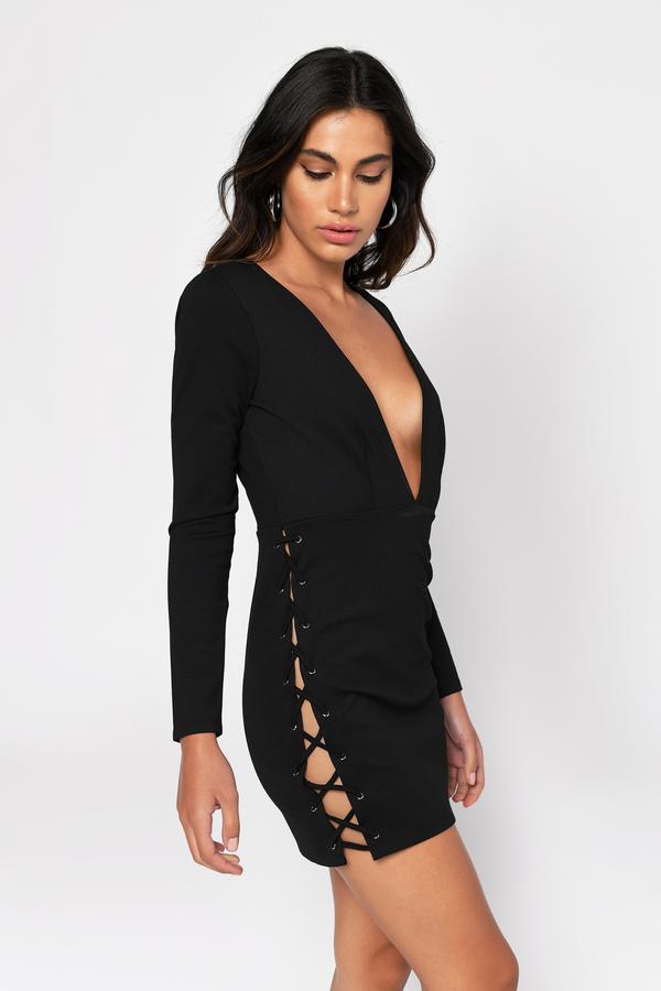 TOBI ドレス 黒 ブラック 【 BLACK TOBI VICTORIA PLUNGING BODYCON DRESS 】 レディースファッション ドレス
