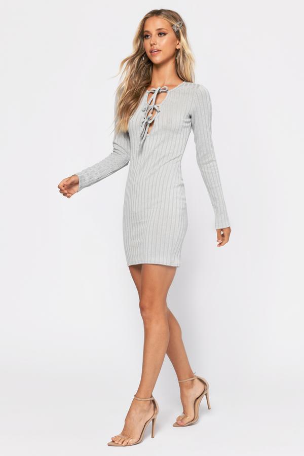 TOBI ドレス GRAY灰色 グレイ 【 GREY TOBI BRI LACE UP BODYCON DRESS 】 レディースファッション ドレス