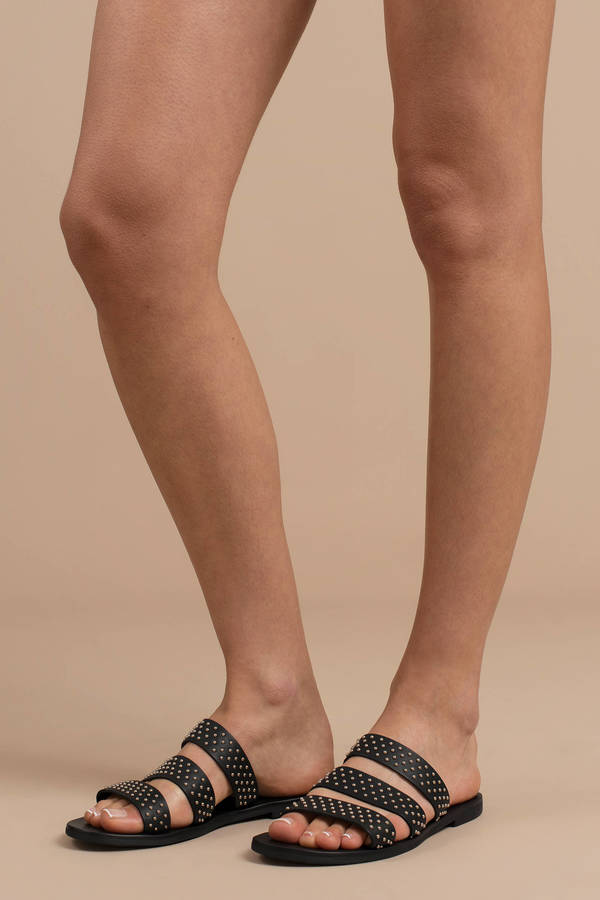 TOBI レザー 【 Joaquin Leather Studded Slides 】 Black