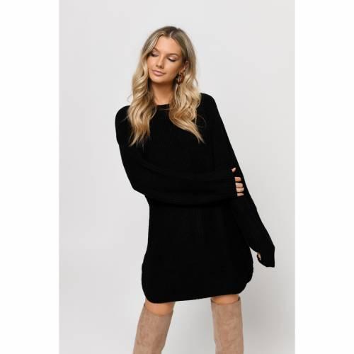 TOBI ドレス 黒 ブラック 【 BLACK TOBI STONE COLD DOLPHIN HEM SWEATER DRESS 】 レディースファッション ドレス