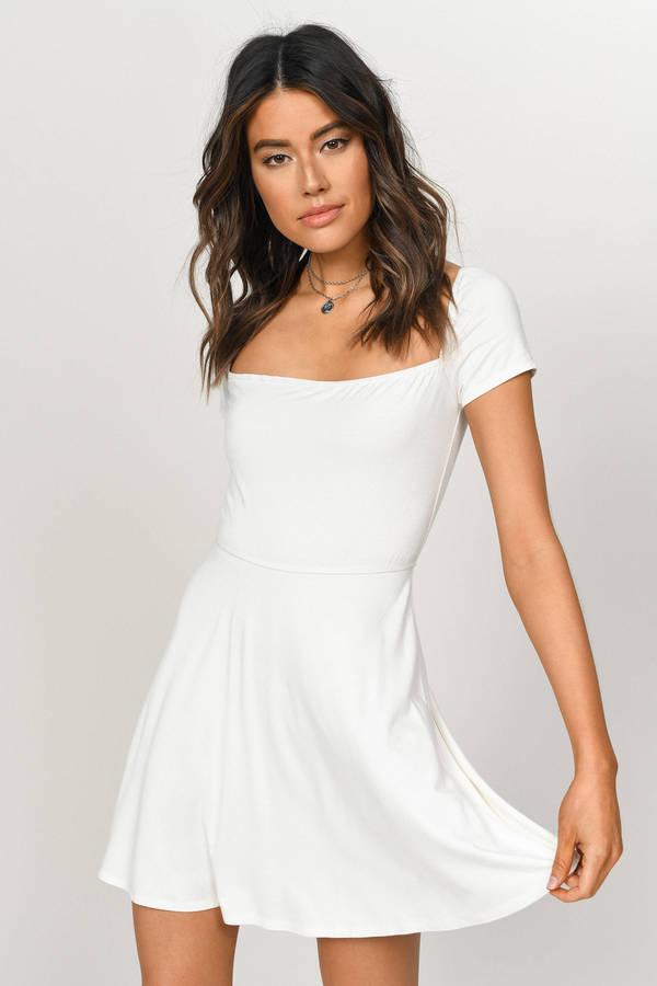 TOBI ドレス 白 ホワイト 【 WHITE TOBI KIA SQUARE NECK SKATER DRESS 】 レディースファッション ドレス