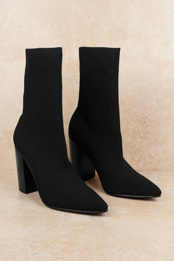 TOBI 黒 ブラック 【 BLACK TOBI DANNI MIDCALF SOCK BOOTIES 】
