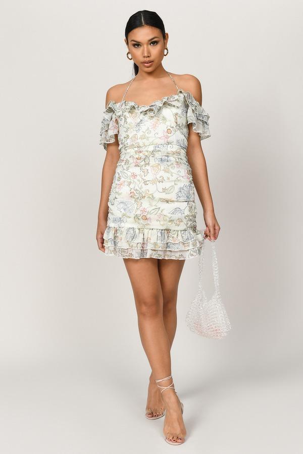 TOBI ドレス 【 TOBI ROWENA OFF SHOULDER RUFFLE DRESS IVORY MULTI 】 レディースファッション ドレス