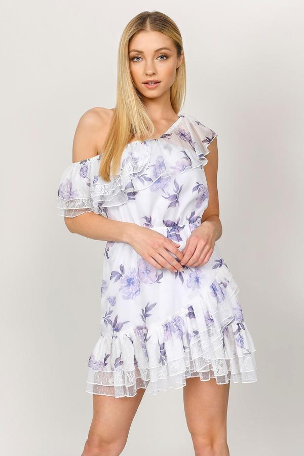 TOBI ドレス 白 ホワイト & 【 WHITE TOBI MARION OFF SHOULDER FLORAL LACE SKATER DRESS MULTI 】 レディースファッション ドレス