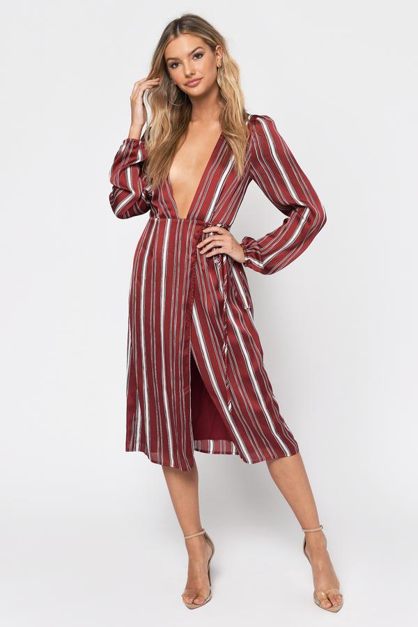 TOBI ラップ ドレス DON'T 【 WRAP TOBI LEAVE MIDI DRESS WINE 】 レディースファッション ドレス