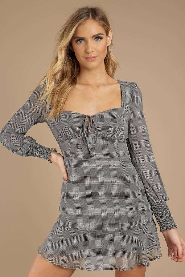 TOBI ドレス GRAY灰色 グレイ 【 GREY TOBI BRIELLE PLAID DRESS 】 レディースファッション ドレス