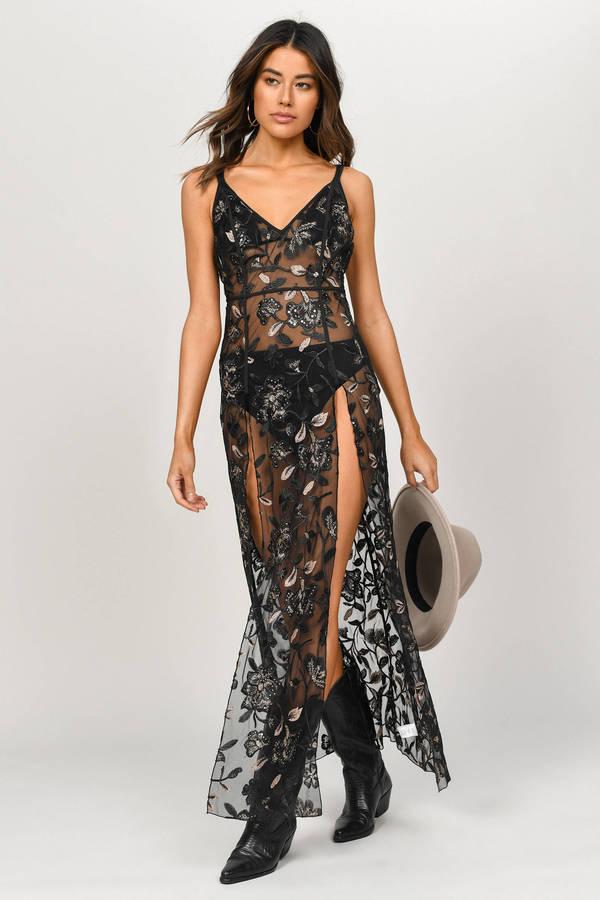 TOBI ドレス 黒 ブラック 【 BLACK TOBI LISTEN TO ME EMBROIDERED MAXI DRESS 】 レディースファッション ドレス