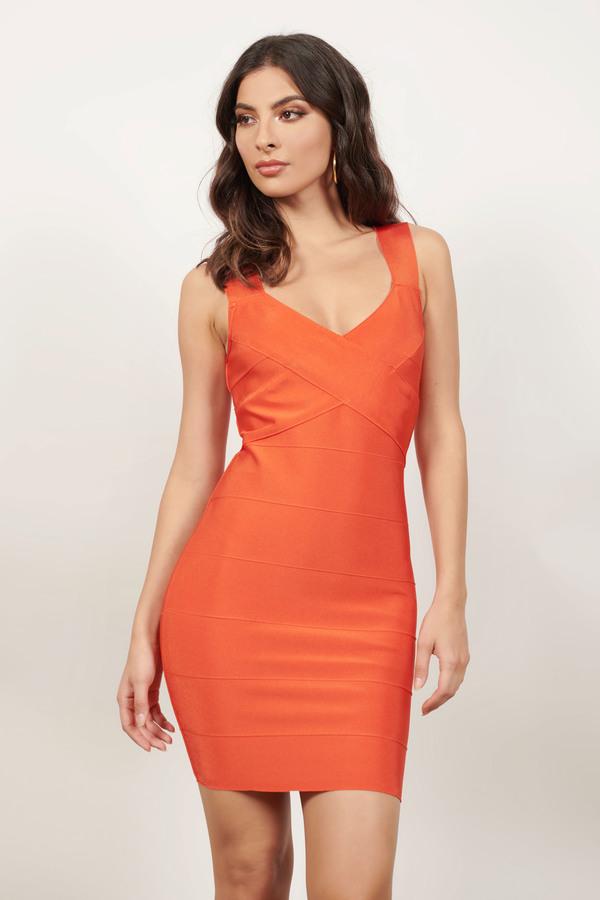TOBI ドレス 赤 レッド 橙 オレンジ 【 RED ORANGE TOBI COSMOPOLITAN BANDAGE BODYCON DRESS 】 レディースファッション ドレス