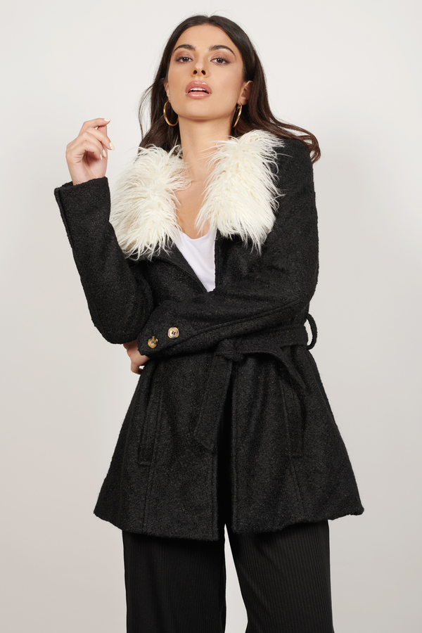 TOBI 【 Florence Faux Fur Collar Coat 】 Black