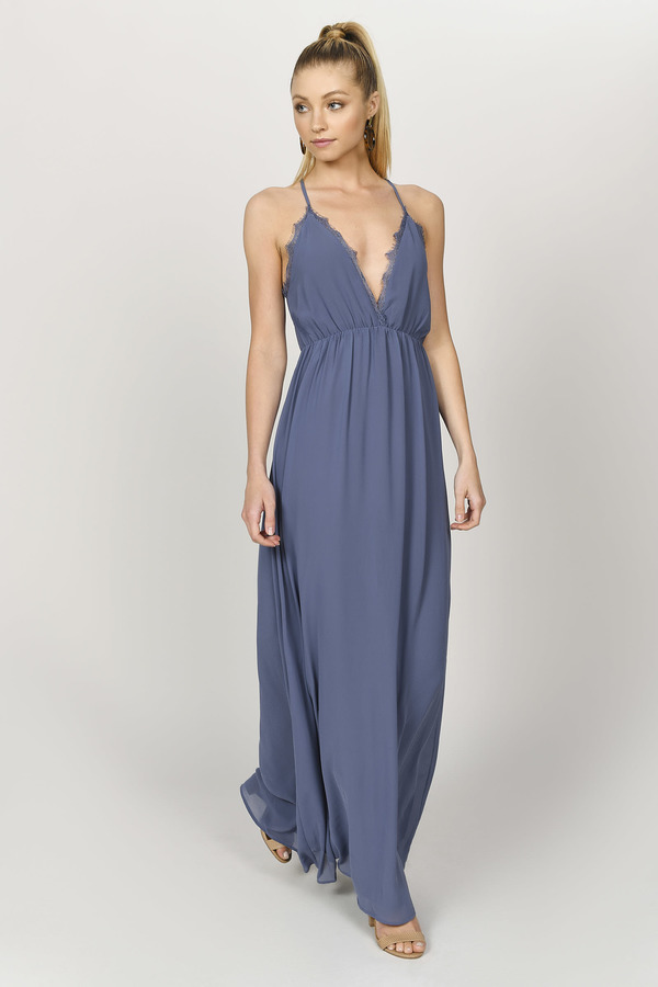 TOBI ドレス 【 TOBI ABEGAYLE PLUNGING MAXI DRESS SLATE 】 レディースファッション ドレス