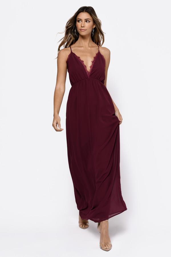 TOBI ドレス 【 TOBI ABEGAYLE PLUNGING MAXI DRESS WINE 】 レディースファッション ドレス