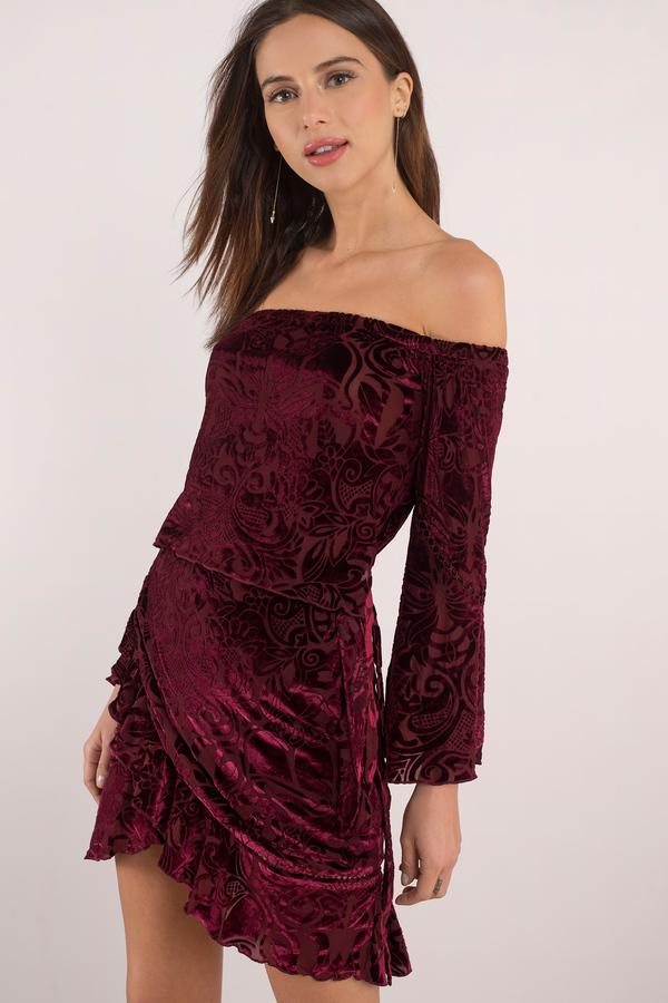 税込 ファッションブランド カジュアル 安い ファッション トビ TOBI ドレス SANGRIA OFF THE IN レディースファッション DRESS VELVET SHOULDER WINE