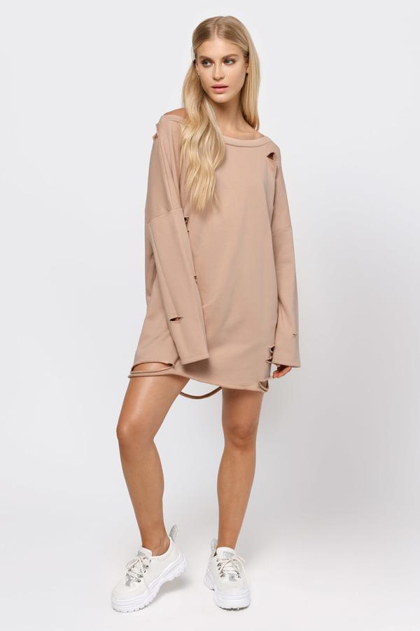 TOBI ドレス ナチュラル 【 TOBI SHOW OFF SHOULDER SWEATER DRESS NATURAL 】 レディースファッション ドレス