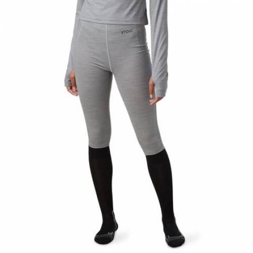 ファッションブランド カジュアル ファッション パンツ STOIC ズボン WEB限定 ボトムス メーカー公式 ヘザー 灰色 BOTTOM BASELAYER グレー BLEND GREY CALFLENGTH HEATHER レディースファッション MERINO
