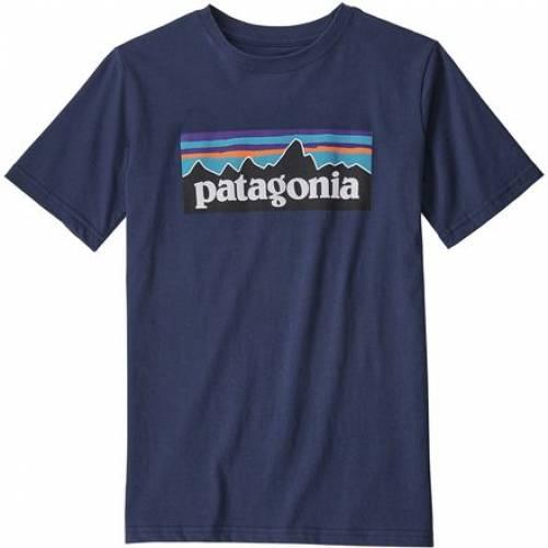 ファッションブランド カジュアル ファッション ☆正規品新品未使用品 パタゴニア ロゴ Tシャツ 紺色 ネイビー 新作販売 TSHIRT NAVY LOGO P6 ジュニア PATAGONIA キッズ NEW