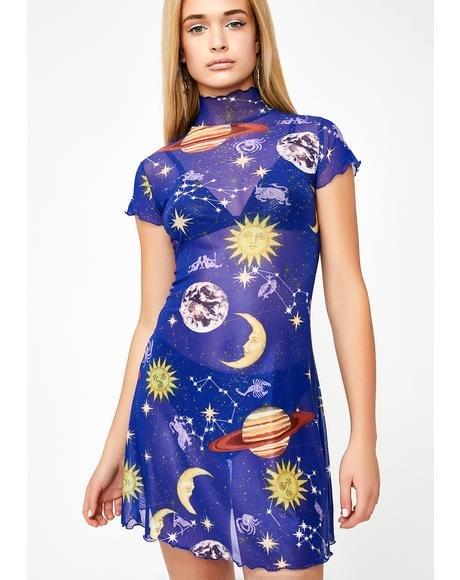 HOROSCOPEZ ドレス レディースファッション ワンピース 【 Astro World Mesh Dress 】 Blue