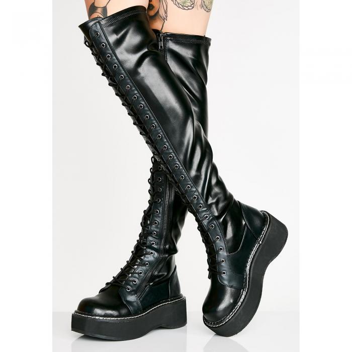 【スーパーセール中! 6/11深夜2時迄】DEMONIA 【 Hellraiser Lace-up Boots 】 Black