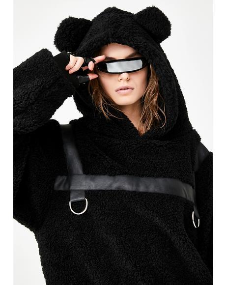 CLUB EXX 【 BONDAGE BEAR FAUX FUR HOODIE BLACK 】 レディースファッション トップス パーカー 送料無料
