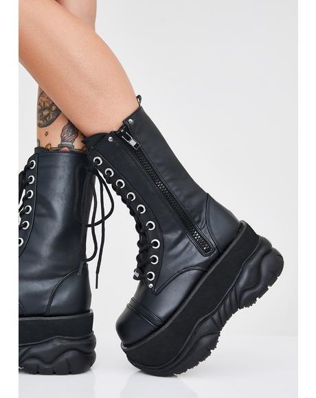 DEMONIA 【 Cyber Void Platform Boots 】 Black