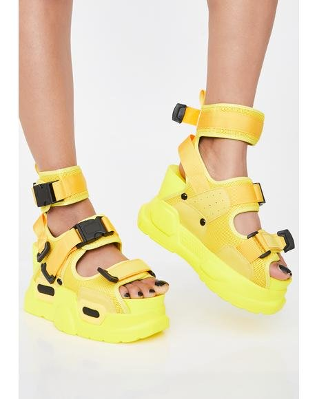 【スーパーセール商品 12/4-12/11】ANTHONY WANG 【 SUNNY DAILY HUSTLE PLATFORM SANDALS YELLOW 】 送料無料