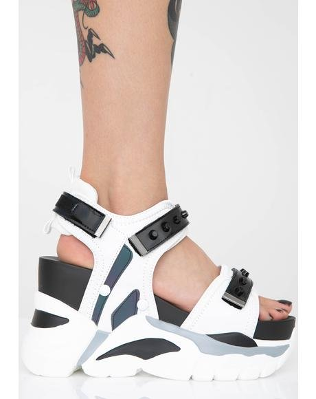 【スーパーセール商品 12/4-12/11】ANTHONY WANG 【 READY FOR TAKEOFF PLATFORM SANDALS WHITE 】 送料無料