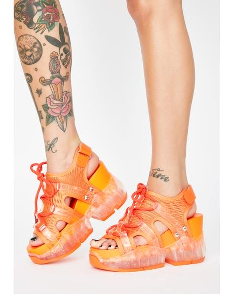 ANTHONY WANG 【 JUICY XTREME ELEMENTS CHUNKY SANDALS ORANGE 】 送料無料