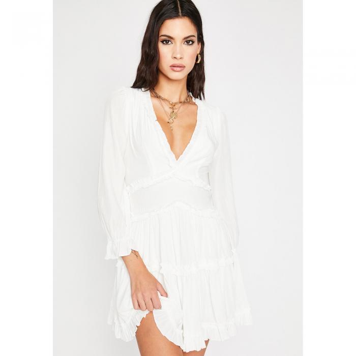 MABLE ドレス 白 ホワイト 【 WHITE MABLE RUNAWAY ROADIE RUFFLE DRESS 】 レディースファッション ドレス