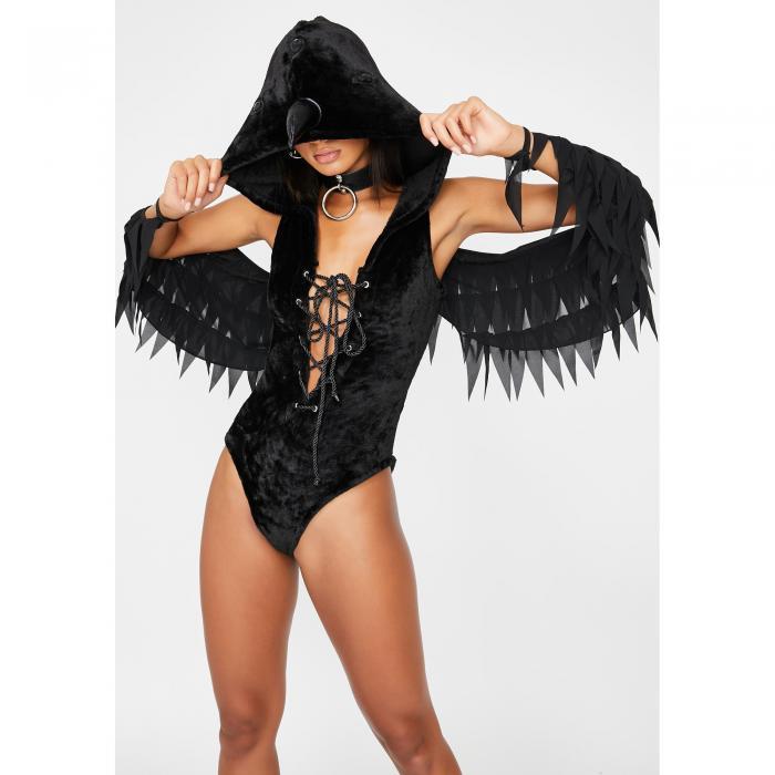 DOLLS KILL 黒 ブラック 【 BLACK DOLLS KILL WATCHFUL RAVEN COSTUME SET 】 レディースファッション