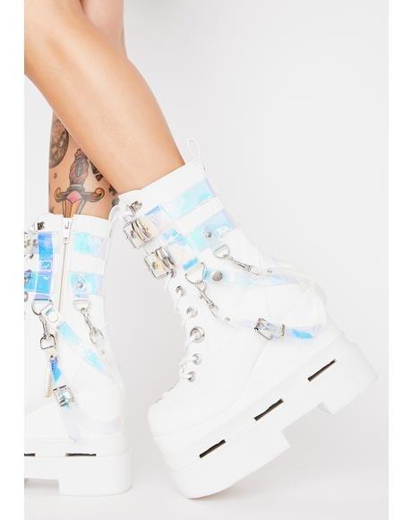 【スーパーセール中! 6/11深夜2時迄】DEMONIA マジック 【 Timeless Magic Platform Boots 】 White