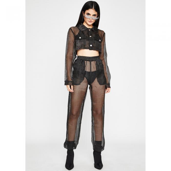 HOT DELICIOUS パンツ レディースファッション 【 Dangerous Bish Sheer Pant Set 】 Black