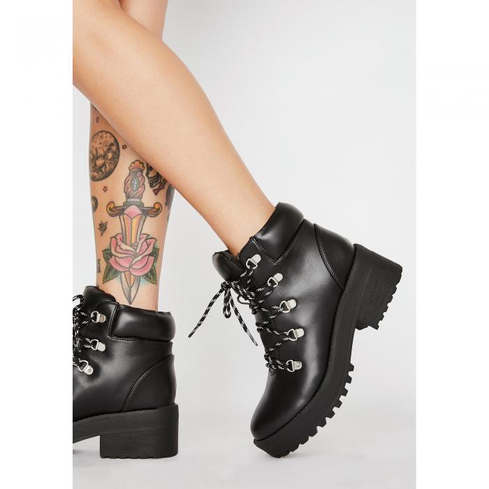 【スーパーセール中! 6/11深夜2時迄】QUPID スカイ 【 Sky Scraper Lace Up Boots 】 Black