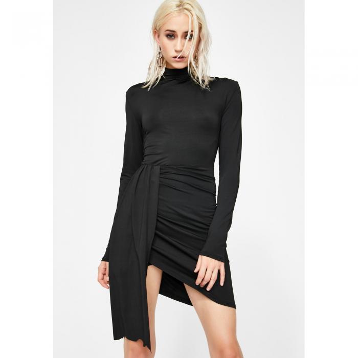 LIONESS ドレス 黒 ブラック 【 BLACK LIONESS TONGUE TIED MINI DRESS 】 レディースファッション ドレス