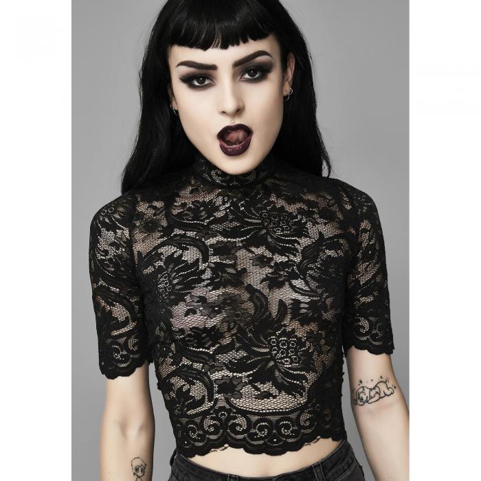 WIDOW 黒 ブラック 【 BLACK WIDOW MIDNIGHT OMINOUS TRANCE LACE TOP 】 レディースファッション トップス ベアトップ チューブトップ