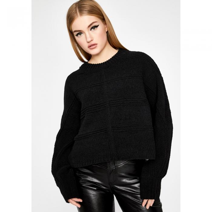 VERY J 【 SO ABOUT IT CROPPED SWEATER BLACK 】 レディースファッション トップス ニット セーター 送料無料