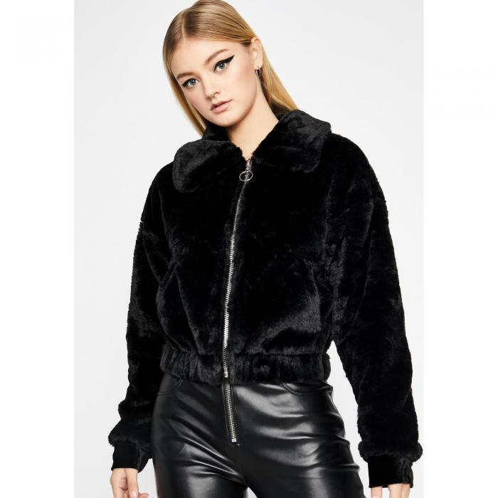 CLARA STORY 【 Make You Jealous Faux Fur Jacket 】 Black