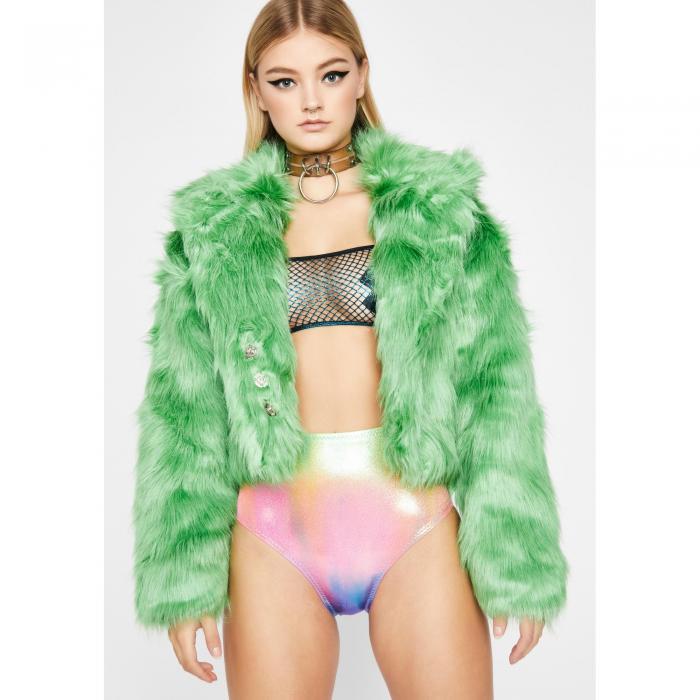 REHAB 【 Cash Doll Life Faux Fur Jacket 】 Green