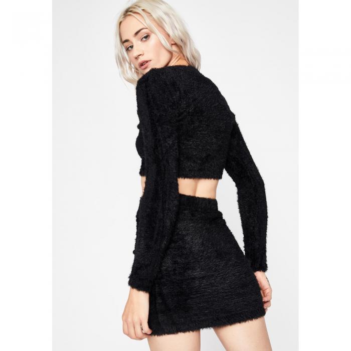 黒 ブラック 【 BLACK SINFUL FUZZY FREAQ SKIRT SET 】 レディースファッション