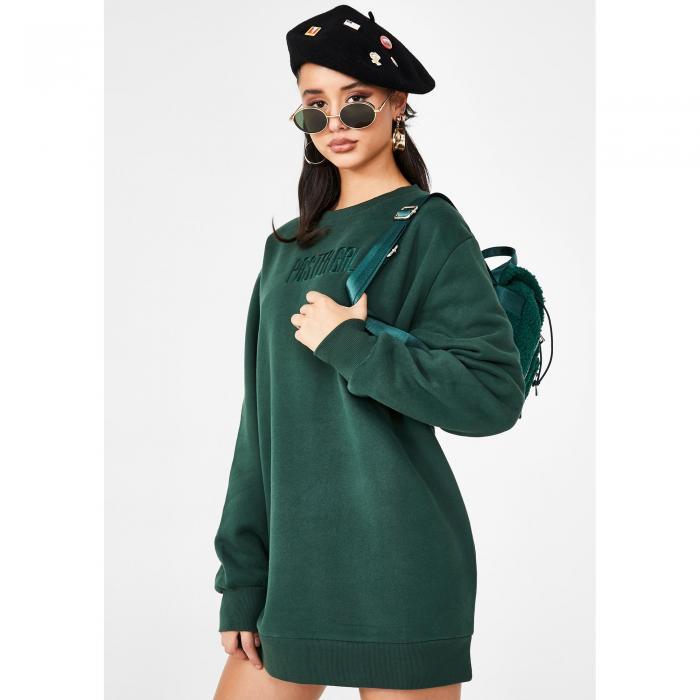 POSTER GRL ドレス 緑 グリーン 【 GREEN POSTER GRL WOKE UP LIKE THIS SWEATSHIRT DRESS 】 レディースファッション ドレス