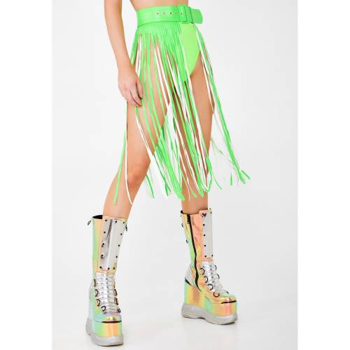 HOT DELICIOUS ベルト バッグ サスペンダー 【 Slime Neon Dimension Fringe Belt 】 Green