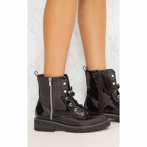CITYSHOE ブーツ 黒 ブラックBLACK CITYSHOE PRETTYLITTLETHING CHUNKY HIKER LACE UP BOOTW2e9DIEHY